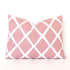 Pale Pink Lattice lumbar decorative Designer by WhitlockandCo
