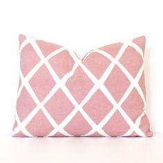 Pale Pink Lattice lumbar decorative Designer Pillow Cover throw cushion cream white Diamonds modern Valentines Days pantone rose quartz