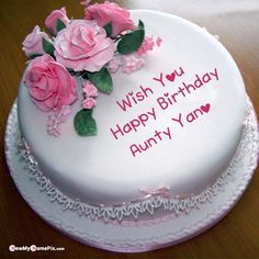 Rose birthday cake for sister with name and photo create free