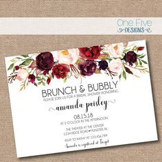 Brunch & bubbly bridal shower invitation with flowers (fall colors Garden Bridal Showers, Disney Bridal Showers, Beach Bridal Showers, Bridal Shower Favors, Bridal Shower Invitations, Garden Shower, Simple Bridal Shower, Bridal Shower Flowers, Bridal Shower Rustic