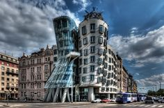 The Dancing House in Prague, Czech Republic. Designed by Vlado Milunić in co-operation with Frank Gehry.