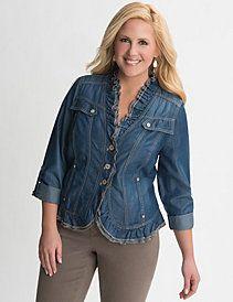 Plus Size Ruffled Denim Jacket by Lane Bryant #curvy