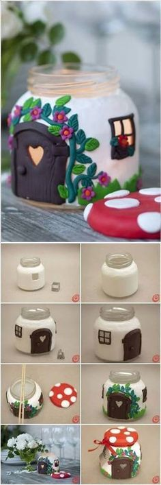 Most Awesome DIY Mason Jar Ideas You Can Make in 2019 Well certainly NOT a mushroom house, but it gets the brain clicking.Well certainly NOT a mushroom house, but it gets the brain clicking. Cute Crafts, Diy And Crafts, Arts And Crafts, Clay Crafts For Kids, Diy Y Manualidades, Mushroom House, Fairy Crafts, Fairy Doors, Miniature Fairy Gardens