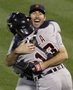 Detroit Tigers starting pitcher Justin Verlander hugs catcher Alex Avila after the Tigers beat the Oakland Athletics in Game 5 of an American League division baseball series in Oakland, Calif. American Baseball League, Detroit Sports, Detroit Tigers Baseball, American League, Detroit Lions, Old English D, Mlb Pitchers, Baseball Series, Justin Verlander