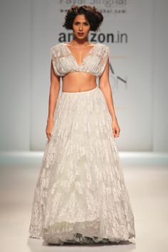 Payal Singhal's AW15 Lace Collection - Fabrics We Love | The Grace of Lace - off shoulder white lace lehenga - Indian designer - Indian couture - Indian fashion - modern Indian bridal fashion #thecrimsonbride