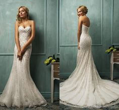 Amelia Sposa Luxury Mermaid Wedding Dresses Sweetheart Neck With Applique Beaded 2015 Sweep Train Charming Garden Wedding Bridal Gowns #dhgatePin