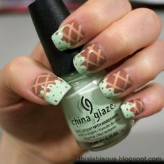 Mint Chocolate Chip Ice Cream Nail (try with crisscross stamp in leotard gel on pale nails, + mint green gel and brown gel dots.)