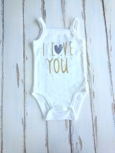I Love You Bodysuit, Baby Girls Bodysuit, Love Bodysuit, Girls Bodysuit 6 Months, White and Gold Onesie, Sweet Onesie, Rhinestones Bodysuit by PinkAndBlueSugar on Etsy