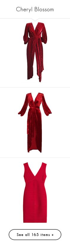 """""""Cheryl Blossom"""" by rebellious-ingenue ❤ liked on Polyvore featuring dresses, gowns, 1970s, outerwear, red, velvet wrap dress, floral evening gown, wrap dress, red wrap dress and red dresses"""