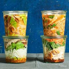 Make a jar of noodles, sauce, vegetables and protein that you can quickly grab and go for a work lunch or easy dinner. Get our recipes to mix and match ingredients and create the perfect homemade noodle cup!