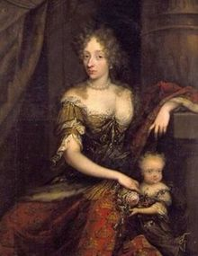 Charlotte Amalie of Denmark. Margravine Charlotte Amalie of Hesse-Kassel, queen consort of Denmark and Norway, with one of her children. by marriage to King Christian Jacob d'Agar Castle.