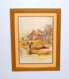 Vintage HOMCO Home Interior Framed Picture Country Red Barn Mailbox ...