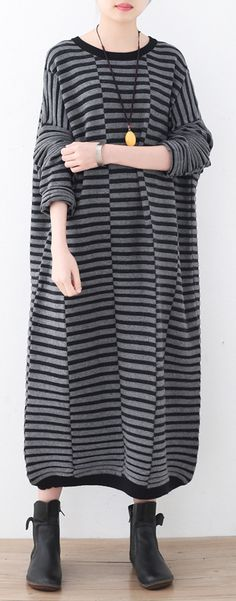 8ed6202794 Warm striped knit dresses casual patchwork sweater Linen Dresses