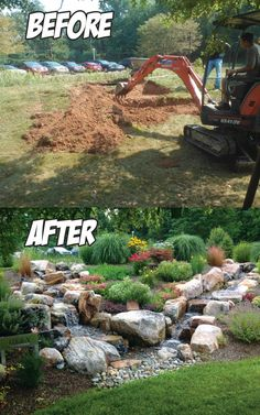 Dual Stream Pondless Waterfall Before & After  in Hummlestown, PA