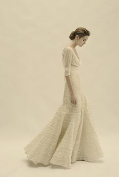 Add a Jennifer Behr Arielle for a beautiful look::Cortana :: wedding dress :: bridal :: bride :: ivory :: elegant :: chiffon :: flowy :: movement :: tiered skirt :: sleeves ::