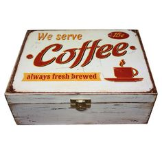 Coffee Tea Decoupage Box Red Ivory and Brown от WoodenStories