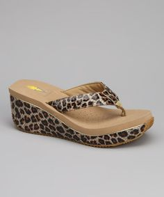 Take a look at this Tan Tiramisu Wedge Sandal by VOLATILE on #zulily today!