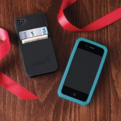 Duo iPhone 4 Case - Made from silicone, it protects your phone and doubles as a wallet. Too cool!