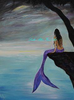 "Mermaid Painting Mermaids Siren Purple Tail Painting Girl Woman Ocean Seascape Fantasy Art Decor ""Mermaid Oasis"" Leslie Allen Fine Art"