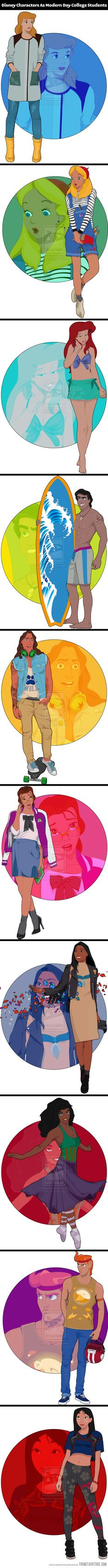 Disney characters as college students…