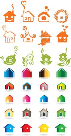 Colored house logotypes vector