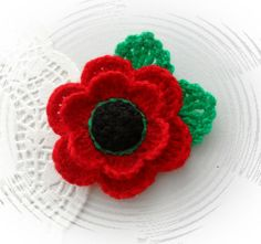 HAND CROCHET BROOCH APPLIQUE RED ACRYLIC FLOWER POPPY FLOWER | eBay