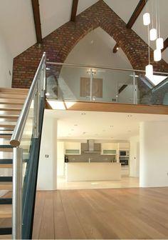 Modern barn renovation. Mix of original and modern materials.
