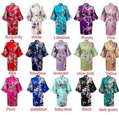 b77baa5e75 New Silk Short long Wedding Bride Bridesmaid Robe Women Floral Bathrobe  Kimono