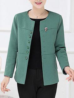 #Fashionmia - #Fashionmia Plain Patch Pocket Single Breasted Blazer - AdoreWe.com