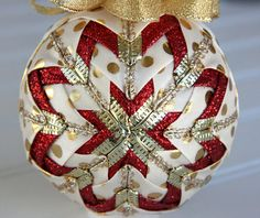 Quilted Christmas Ornament Ball/Gold, Cream and Red - Make Merry