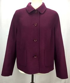ad6a1efed1940 Details about Bromley Gray Button Front Wool Coat Jacket Womens 10
