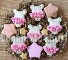 Baby shower cookies Onesie tutu cookies Fancy Cookies, Iced Cookies, Cute Cookies, Cupcake Cookies, Sugar Cookies, Tutu Cupcakes, Baby Shower Cupcakes, Shower Cakes, Baby Girl Cookies