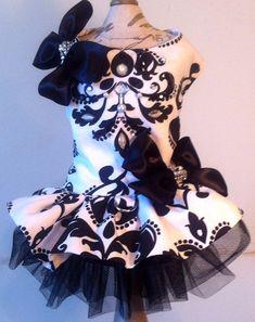 White / Black dog harness / dress Swarovski by LaVitaPetFashion