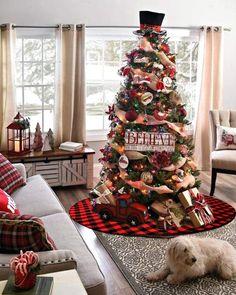 Indoor Christmas Decorations, Christmas Tree Themes, Plaid Christmas, Christmas Home, Christmas Crafts, White Christmas, Country Christmas Trees, Christmas Tree Inspiration, Christmas Ideas