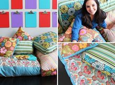How to Create Your Own Colorful Jumbo Floor Pillows | Brit   Co