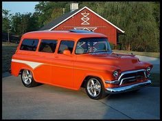57 Chevy Suburban--mine was original except for a 327 motor and 350 trans and an old bus seat in back.