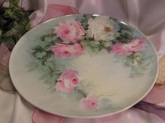 """GORGEOUS ROSES Large 13-5/8"""" Antique Hand Painted Limoges France Fine Art Plaque Charger Chop Plate Tea Service Tray Victorian Heirloom Floral Art China Paintings Original ONE-OF-A-KIND Artist Signed Fine French Porcelain T circa 1900"""