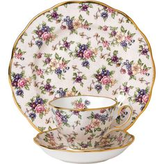 Royal Albert 100 Years Tableware Set - 3 Piece - 1940 English Chintz (93 CAD) ❤ liked on Polyvore featuring home, kitchen & dining, dinnerware, pink, royal albert tea cup and saucer, english dinnerware, pink rose dinnerware, pink dessert plates and pink dinnerware