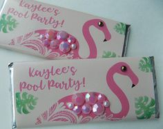 Flamingo Theme Candy Bar Wrappers with Hershey Bar-bling party favor-pink flamingo party-unique summer party favor-flamingo birthday party