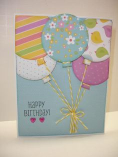 Balloon Happy Birthday card using CTMH Penelope papers