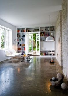 shiny cement floors, although i'd add a rug or 2