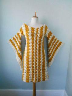 Te koop Vintage 1960s 1970s Hand Knit haak Angel door trash5thave