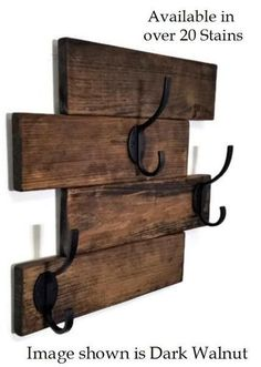 This Recycled Wood Wall-Mount Coat Rack is what your entryway, mudroom, hallway, laundry room or bathroom has been missing! With a distressed, five plank wood base and three robust double hooks screwed into the boards, this shabby chic coat rack is an ideal place to hang raincoats, jackets, leashes, ball caps, towels and more. This reclaimed wood wall coat rack's rustic style and durable design will complement any home's interior. Mounts easily to a wall with dual screwed on saw tooth...