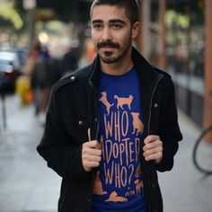 Who Adopted Who? Unisex T-Shirt available at PETACatalog.com.  🐶❤️🐱 #OOTD #FallFashion #VeganFashion