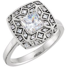 14kt White 1/6CTW Diamond Semi-Mount Engagement Ring for 5.5mm Princess/Square Center