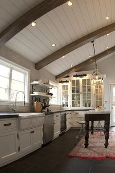 Ceiling beams in kitchen ceiling beam ideas kitchen ceiling beams kitchen rustic with glass front cabinets . ceiling beams in kitchen Vaulted Ceiling Kitchen, Vaulted Ceiling Lighting, Wood Ceilings, Ceiling Beams, Vaulted Ceilings, White Ceiling, Sloped Ceiling, Kitchen Paint, Home Decor Kitchen