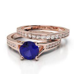 Zoom Gold / Platinum Round cut Tanzanite and Diamond Bridal Set Ring Bridal Ring Sets, Gold Platinum, Sapphire, Wedding Rings, Rose Gold, Engagement Rings, Diamond, Jewelry, Enagement Rings