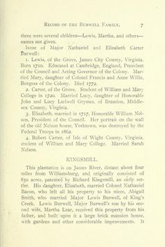 Record of the Burwell family.