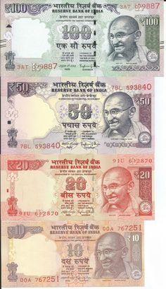 INDIA SET 10 20 50 100 RUPIAS 2016