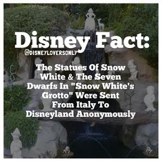 Fun Fact: Because the Snow White statue is the same size as the dwarfs, she is in the background to create force perspective. Disney And More, Disney Love, Disney Magic, Disney Stuff, Disneyland Secrets, Disney Secrets, Disneyland Trip, Disney Nerd, Walt Disney World